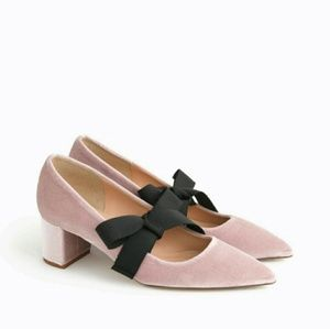 BNIB NEW J.CREW AVERY VELVET SHOES W/ BOW Sz 8!